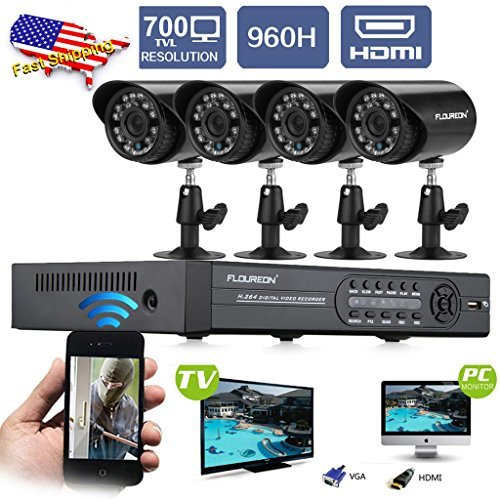 Fantastic Deal! FLOUREON Newest 4CH 960H HDMI CCTV DVR + 4 In/Outdoor Bullet Night Vision Camera 700...