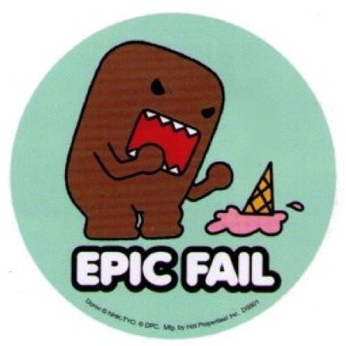 Domo Domo Epic Fail Ice Cream Sticker