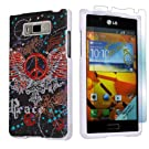 LG Optimus Showtime L86C White Protective Case + Screen Protector By SkinGuardz - Peace Black