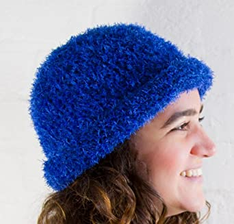 Crochet Ladies Winter Blue Hat made from eyelash wool, very soft and confortable, available in a range of colours - One size - Fair trade and handmade in Ecuador