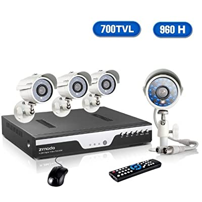 Zmodo KDC8-YARUZ4ZN 8-Channel H.264 960H DVR Security System with 4 x 700TVL IR Night Vision Outdoor Cameras (Beige)