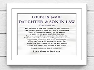 Wedding Gift For Daughter In Law : Wedding Photo Frame. Daughter and Son in Law Wedding Poem Canvas Gift