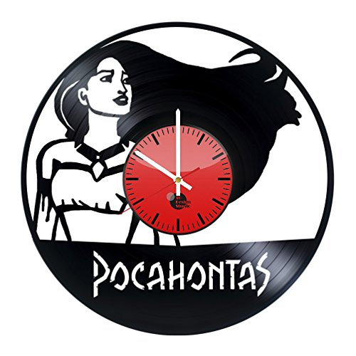 [Pocahontas Handmade Vinyl Record Wall Clock - Get unique living room wall decor - Gift ideas for kids,friend- Unique kids art design - Leave us a feedback and win your custom] (Pocahontas Movie Costume)