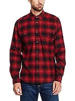 Cortefiel Camisa Hombre Sobrecamisa Cuadros (Rojo / Negro)
