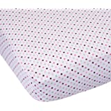 Carter's Easy Fit Printed Crib Fitted Sheet, Pink/Green Dot (Discontinued by Manufacturer)