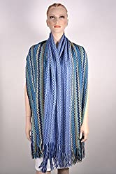 Missoni Women's Stole Scarf Wrap Zig Zag Wool Blend One Size Blue