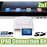 "IPAD USB Adapter und Anschluss - SD Kartenleseger�t - Kamera Connection Kit 2in1 - USB SD SDHC Cardreader - f�r IPAD mit neuester iOS - Foto und Video import - Tastaturanschlussvon ""Denio"""