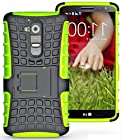 myLife Yellow Green {Textured with Stand Up Design} 2 Layer Neo Hybrid Case for the for the LG G2 Smartphone (External Rubberized Hard Safe Shell Piece + Internal Soft Silicone Flexible Bumper Gel)