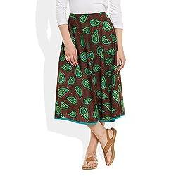 Womens Apparels Cotton Printed Medium Length Skirt A-Line,Large,W-CMLSL-3013