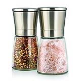 Elegante Edelstahlmühlen für Salz und Pfeffer mit Ständer - Twinzee
