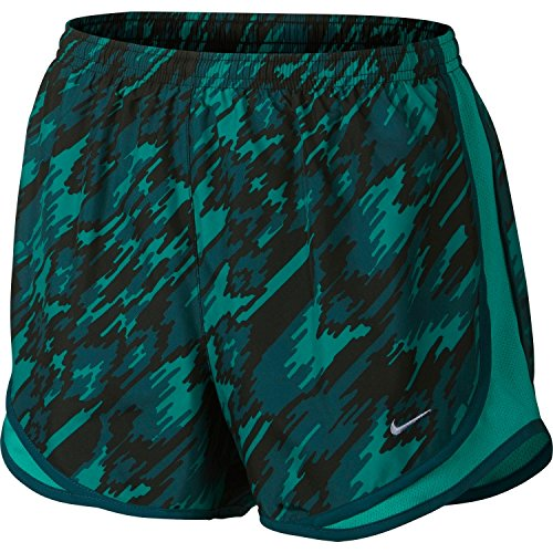 Nike Women's Dry Tempo Overdrive Printed Running Shorts (Rio Teal, Small)