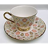 Famacart Tableware Serving Gold Printed Coffee -Tea Cups Saucer Set 12 Pcs