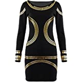 Fashion Wardrobe Womens Gold Foil Mini Dress Celebrity KIM Kardashian Bodycon (US 10-12 UK 12-14 M/L, Black Gold Foil)
