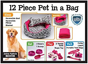 Zebra Fuchsia 12 Piece Pet In A Bag Set Large
