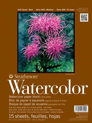 Strathmore 400 Series Watercolor Block, Cold Press, 13x17 Bound (4 sides), 15 Sheets/Block (Color: White, Tamaño: 13x17)