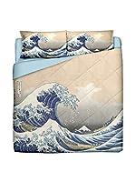 Tele d'autore by MANIFATTURE COTONIERE Edredón Hokusai- Kanagawa La Grande Onda (Azul/Beige)