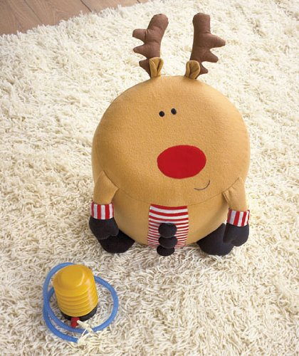Reindeer Inflatable Holiday Stool With Pump - 1