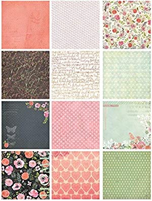 IDULL Floral Scrapbook Paper 12x12 for Scrapbooking, Card Making and Handwork (Color: Pink & Light Green, Tamaño: 12-x-12-Inch)
