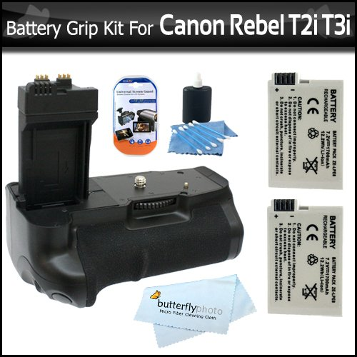 Photive PH-BGE8 Battery Grip With 2 Extra Replacement LP-E8 Batteries For Rebel T4i, EOS 650D, T2 i/ EOS 550D T3i Digital SLR Bundle