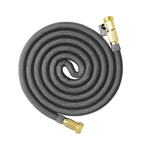 Ablevel Expanding Hose, Strongest Magic Flexible Retractable Expandable Garden Hose on the Planet Extra Strength Fabric (50 Feet, Gray)