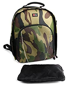High Quality SLR / DSLR Camouflage Camera Backpack / Rucksack with Adjustable Padded Interior & Rain Cover for Samsung WB1100F
