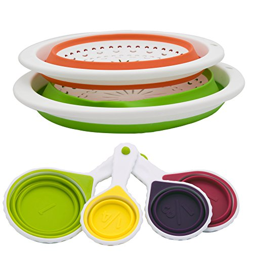 Cozroom collapsible colander strainers and measuring cups for Foldable kitchen set