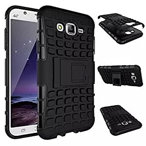 Electrochem Flip Kick Stand Spider Hard Dual Rugged Armor Hybrid Bumper Back Case Cover For Samsung Galaxy J7 SM-J700F 2015 - Rugged Black