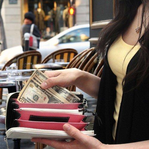 【再入荷】本馬革 バイカラー長財布 ホワイト×ピンク 大容量 アコーディオンタイプ L字 白