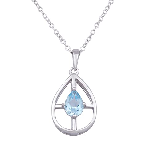 Sterling Silver Blue Topaz Pear Shaped Pendant Necklace, 18″ $10.91