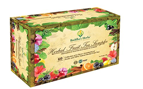 Buddha's Herbs Premium Herbal Fruit Tea Sampler - 60 Count Assorted Package, Tea Gifts, New Year Gifts (Mixed Tea Herbs compare prices)