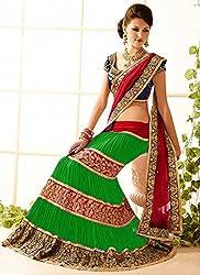 Khodiyar Creation Women's Green Georgette Embroidered Dhupian Blouse Partywear And Wedding Lehenga Saree