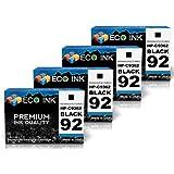 ECO INK © Compatible / Remanufactured for HP 92 C9362WN (4 Black) Ink Cartridges for HP PhotoSmart C3100, C3140, C3180, 7838, C3110, C3150, 7800, 7850, C3125, C3170, 7830 HP Deskjet 5420, 5438, 5440v, 5442, 5420v, 5440, 5440xi, 5443 HP OfficeJet 6300, 6305, 6310v, 6315, 6301, 6310, 6310xi, 6318 HP PSC 1500, 1507, 1510, 1513, 1503, 1508, 1510v, 1513s, 1504, 1509, 1510xi, 1514, 1506