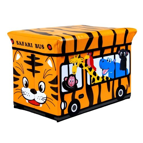 Kids Childrens Large Storage Seat Stool Toy Books Clothes Storage Box Safari Animals By Impressions