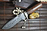 Price Cut - Custom Handmade Damascus Hunting Knife - Beautiful Bowie Knife
