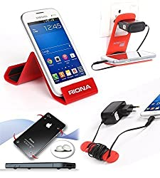 Riona Mobile holder A5S Red + Hanger Stand + Cable Organizer + Scratch Guard ... A5SR-C