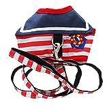 さわやか マリン ボーター柄 刺繍 付 ワンピース風 ハーネス 小型 の 犬 猫 カワイイ リード セット (赤:L)