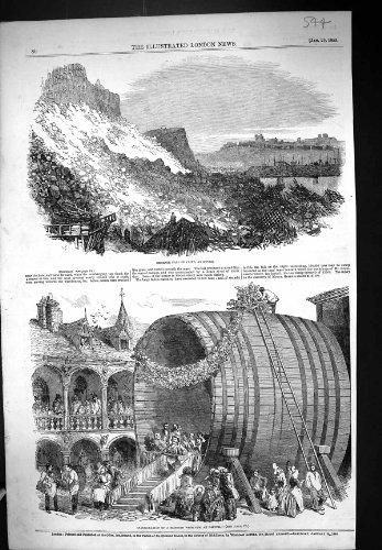 1853 の崖の落下ドーバーの就任式モンスターのワインの大酒樽 Dieppe フランス