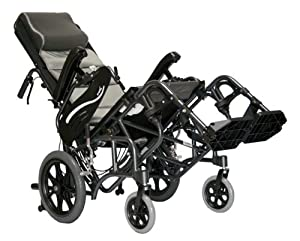 Karman Healthcare VIP-515-TP-18 Foldable Tilt in Space, Diamond Black, 14 Inches Rear Wheels and 18 Inches Seat Width