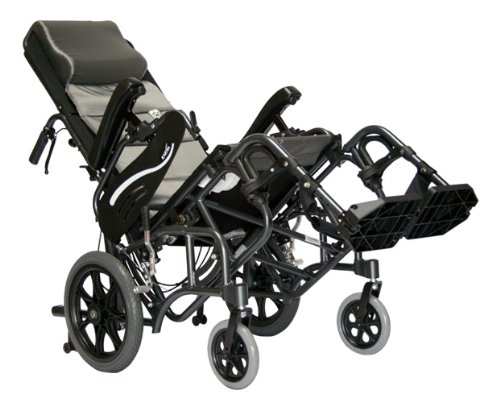 Karman Healthcare VIP515TP-18-E Foldable Tilt in Space, Diamond Black, 14 Inches Rear Wheels and Elevating Legrests and 18 Inches Seat Width