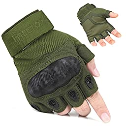 TPRANCE® Fingerless Tactical Gloves Hard Knuckle Adjustable Breathable Comfortable Fitness/Driving/Climbing Green L