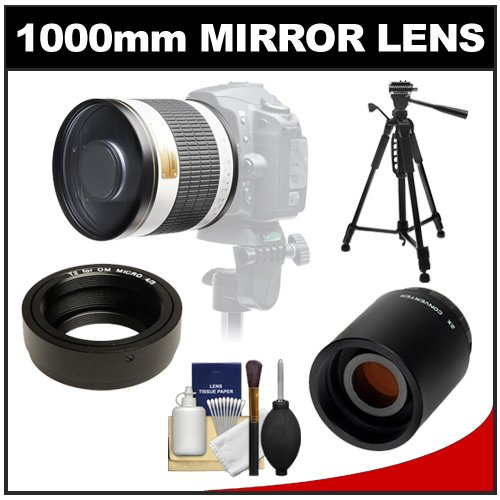 "Samyang 500Mm F/6.3 Mirror Lens (White) With 2X Teleconverter (=1000Mm) + 58"" Tripod Kit For Olympus Om-D Em-5, Pen E-P2, E-P3, E-Pl2, E-Pl3, E-Pm1 & Panasonic Micro 4/3 Digital Cameras"