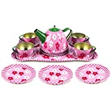 Flower Springtime Childrens Kids Full Metal Durable Pretend Play Toy Tea Set W/ Cups, Tea Pot, Plate