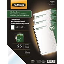 Fellowes Transparent Presentation Binding Cover, PVC Material, 8.25 x 11.25 Inches, Clear, 25 per Pack (52309)