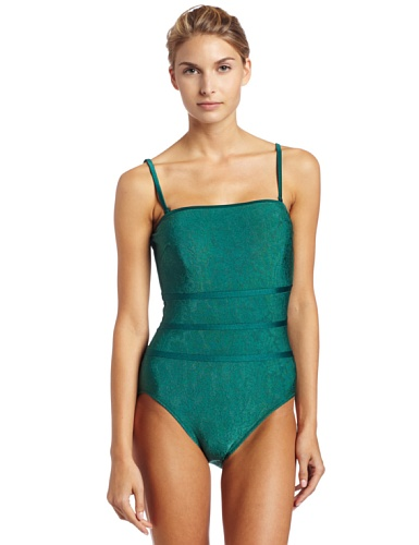 Gottex Women's Confetti Print Sweeheart Bandeau One Piece Swimsuit,Teal,12