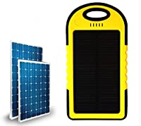 Ko0min Solar Phone Charger 5000mAh & External Battery Pack with Dual USB Port - Works with Apple iPhone 6 , Samsung Galaxy S6 , HTC One M9 & More! (Yellow) by Ko0min