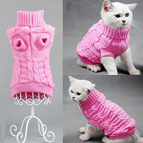 Bro'Bear Cable Knit Turtleneck Sweater for Small Dogs & Cats Knitwear (Pink, Large)