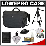 Lowepro CompuDay Photo 150 Messenger Digital SLR Camera Case (Black) + Photo/Video Tripod + Nikon Cleaning Kit for Nikon D3100, D3200, D5000, D5100, D7000, D700, D800, D4 Digital SLR Cameras