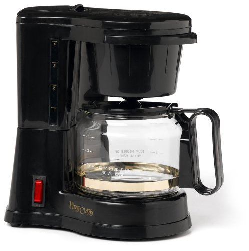 Jerdon First Class CM430WD 4 Cup Coffee Maker, Black