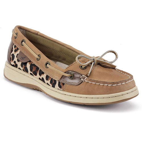 Sperry Top Sider Angelfish Womens SZ 8 Beige Leop Pony Boat Shoes