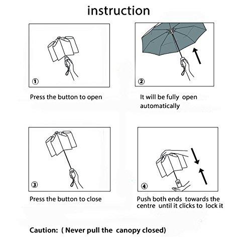 Winddicht Regenschirm,Leebotree Kompakt Reise/Outdoor Regenschirm mit einhändiger Auf-Zu-Automatik, Schirmdurch aus robusten 210T Stoff, transportabel Stockschirme (schwarz) -
